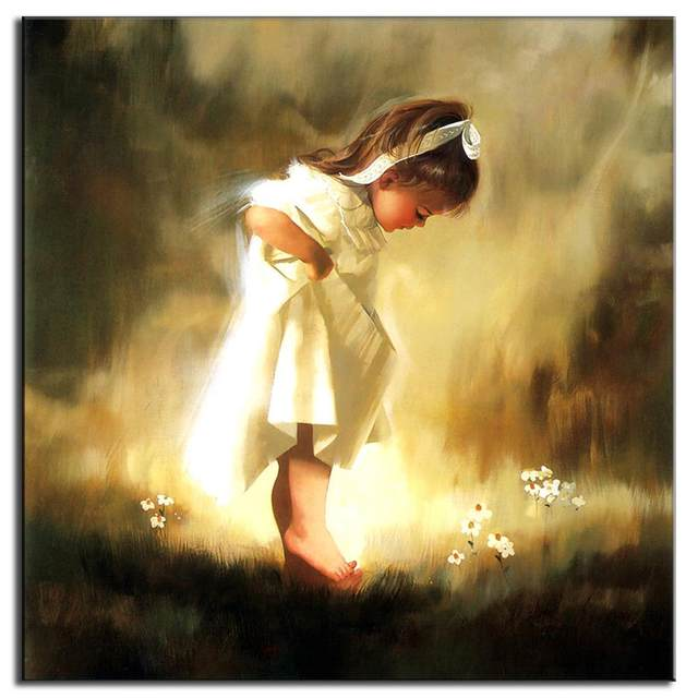Online Shop Unframed Canvas Painting Baby Girl Classic Oil Painting ...
