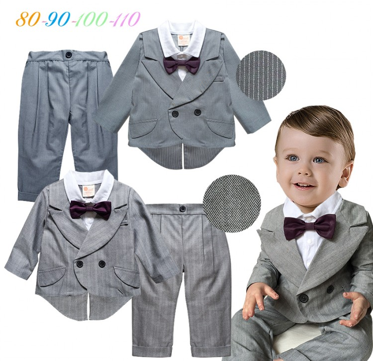DHL EMS Free shipping Infants Baby boys Kids gentleman 2 piece set Striped Party Wear Bow 70-80-90-95 ems dhl free shipping wholesales new arrival baby holiday pettiskirt tutu skirt bow party 2pc set holiday clothing costume