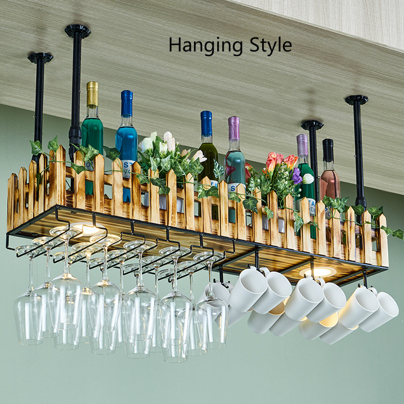 Household Wall-mounted Wine Mug Holders Wall Personality Wine Rack Bar Red Wine Glass Rack Hanging Lamp Solid Wood Goblet Rack