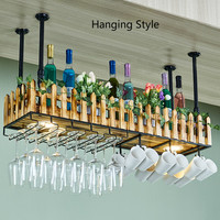 Household Wall mounted Wine Mug Holders Wall Personality Wine Rack Bar Red Wine Glass Rack Hanging Lamp Solid Wood Goblet Rack