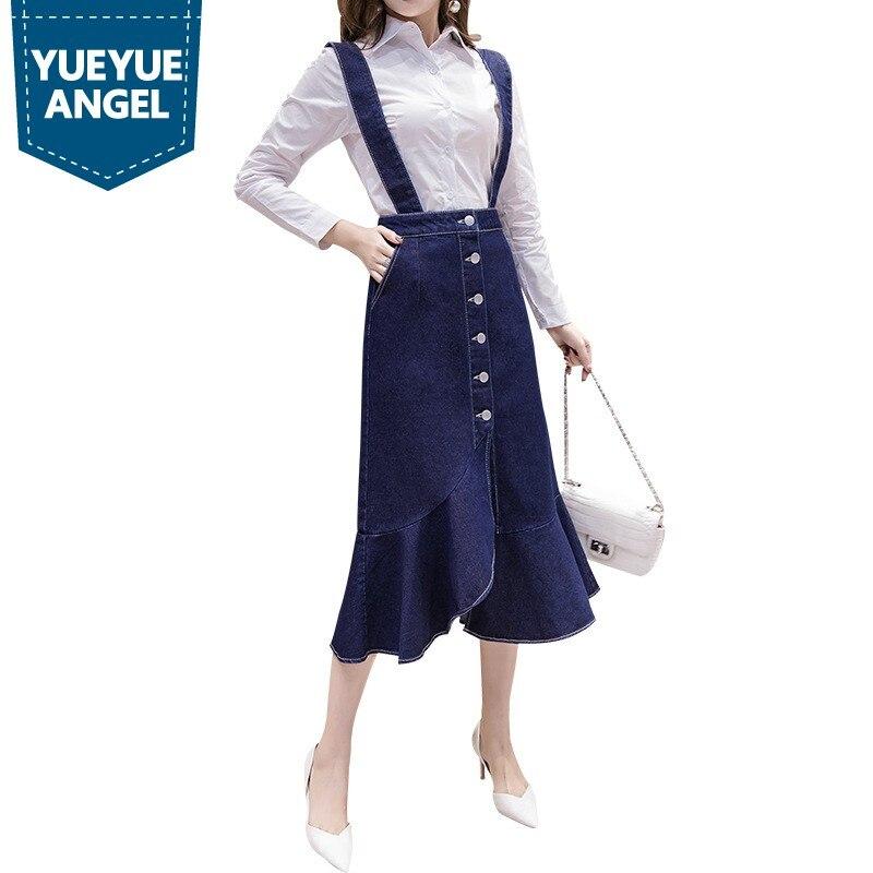 Printemps décontracté femmes Jeans bretelles robe épissure à volants robe mi-longue manches chemise blanche 2 pièces ensemble femme Denim salopette