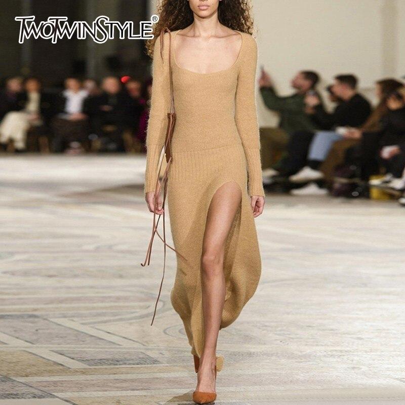 Twotwinstyle Robe Col Khaki Carré Tricot Haute Moulante Robes Longues Nouveau Fendu Ourlet Mince Féminine Manches Taille Dress Sexy Vêtements r5Snrtxw
