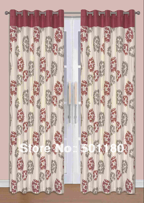 free shipping quality curtains normal one pair of eyelet lined curtains 65x90 inch 100 polyester window curtain with grommeter