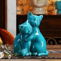 Ceramic Blue Maneki Neko Home Decor Crafts Room Decoration Porcelain Animal Figurine Lucky Cat Handicraft Wedding