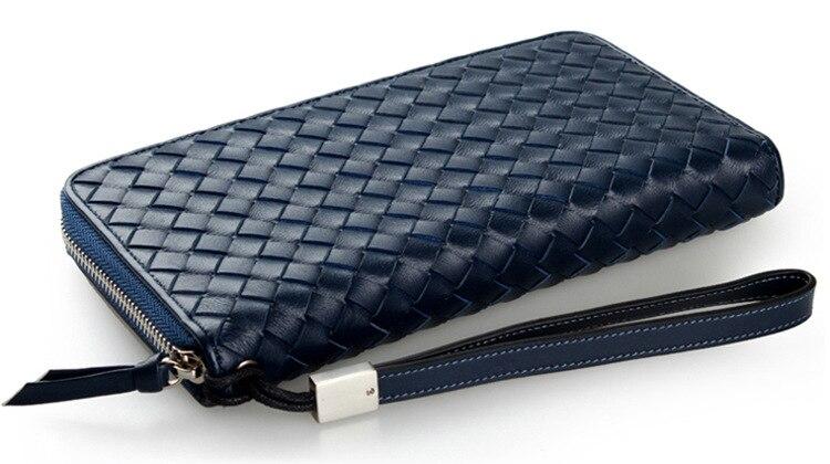 New fashion men wallet genuine leather purse and handbags for male luxury brand black zipper men