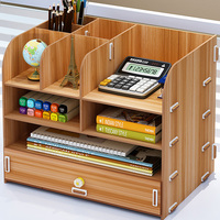 Wooden Office Organizer Big Size Multi Use Storage Holder for Pens/Files/Stationary DIY Storage Box with Drawer