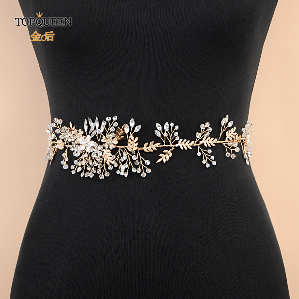 TOPQUEEN SH235 Bridal Belts Crystal Wedding Sash Belt For The Bride Wedding Accessories Moroccan Caftan Belt Elegant Belt