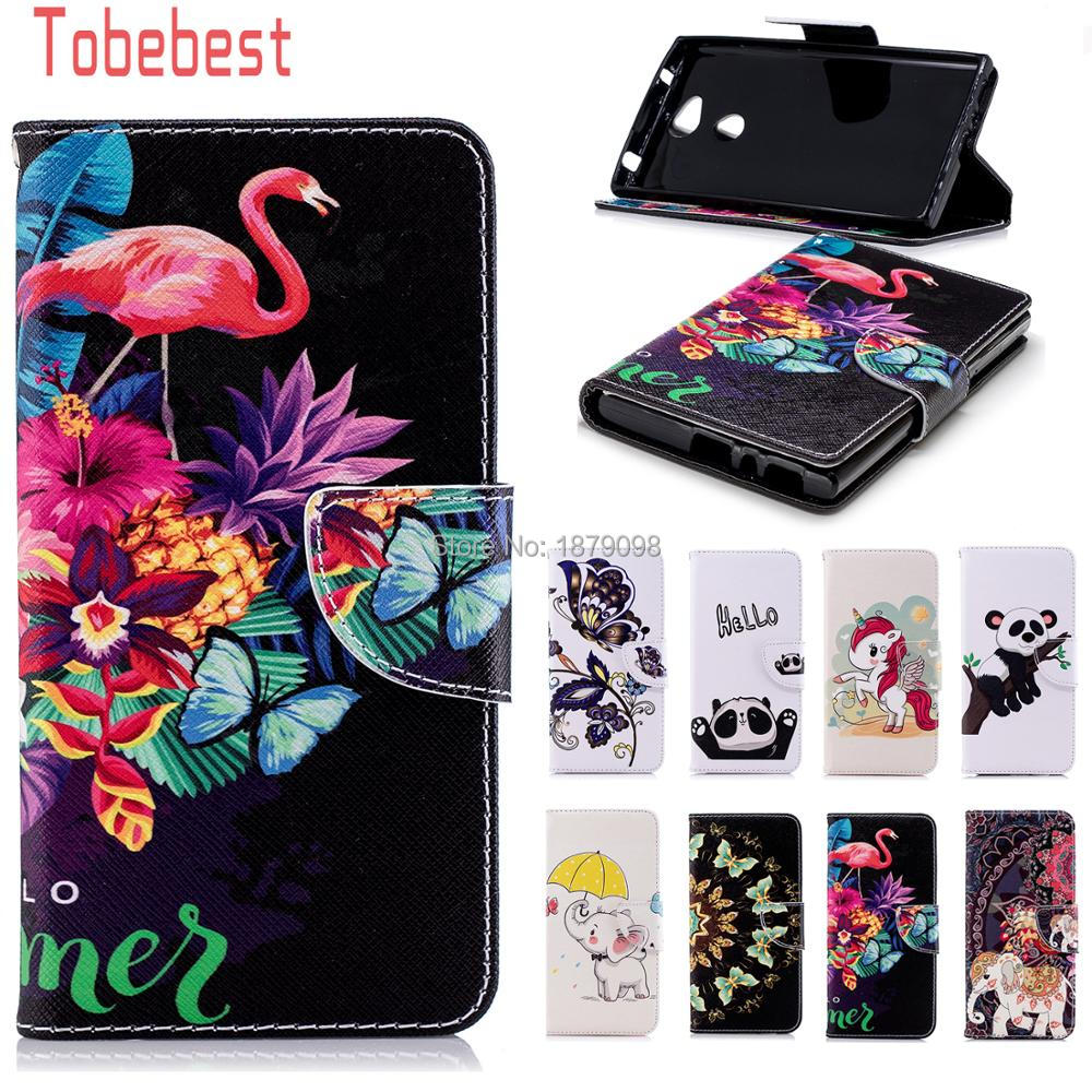 For Sony Xperia L2 PU leather Case Unicorn Panda Elephant Flamingos Butterfly Painted Fl ...