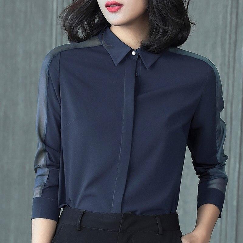 Ol женские топы и блузки деловая Рабочая одежда летняя Однотонная рубашка размера плюс с длинным рукавом Женская корейская модная женская одежда DD2081