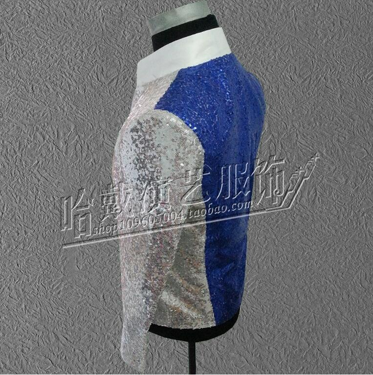 Newest blue Silver Sequins Costumes MEN Singers DJ DS Stage Wear Coat The Host Clothing