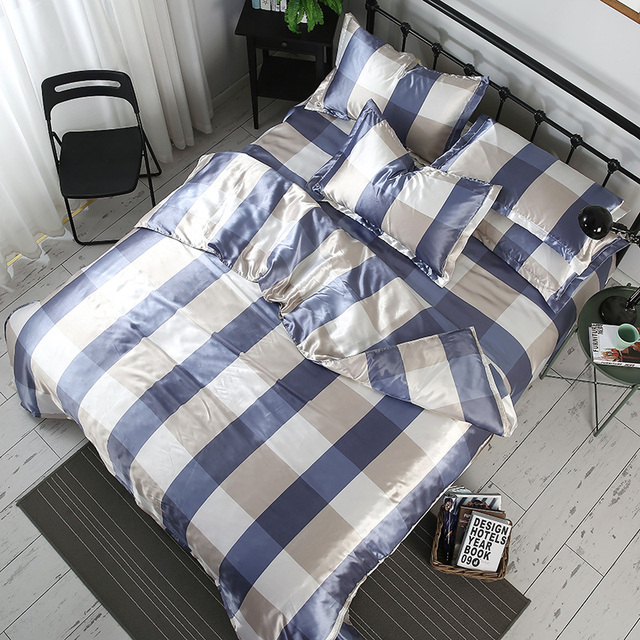 Stripes Butterfly Printing Duvet Cover Set Ice Silk Quilt Cover for Summer Bed Sheet Pillowcases 4pcs Queen King Smooth #376