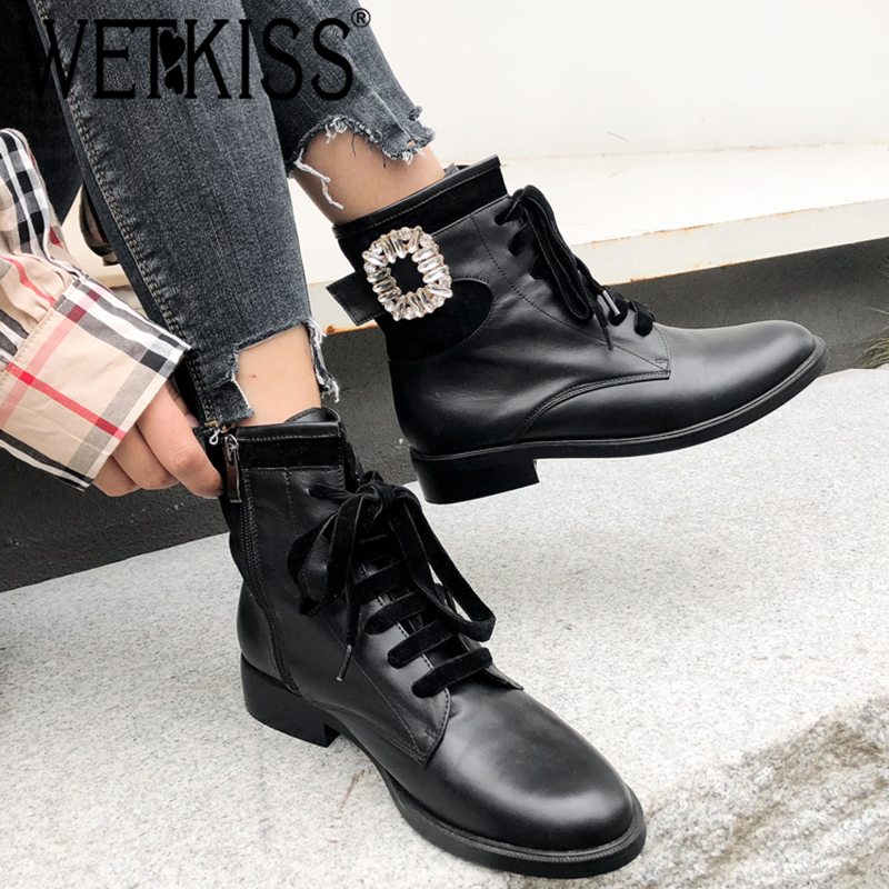 WETKISS Genuine Leather Women Ankle Boots Cross Tied Round Toe Crystal Footwear Low Heels Female Motorcycle Boot Shoes Woman New