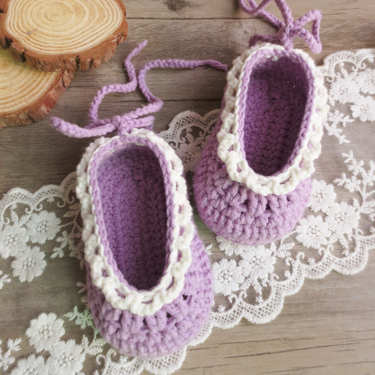 QYFLYXUEHand Knitted Neonate Wool Shoes, Shoes, Baby Toddlers, Soft Bottom, Knitted Full Moon Shoes, 0-3-6 Months.