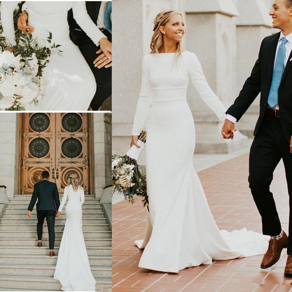 2019 New Crepe Mermaid Modest Wedding Dresses With Long Sleeves Boat Neck Simple Elegant Women Modest Country Bridal Gowns