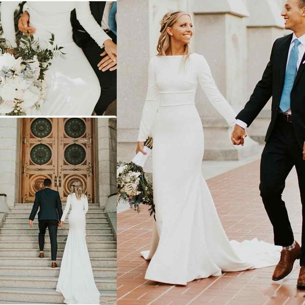 2019 New Crepe Mermaid Modest Wedding Dresses With Long Sleeves