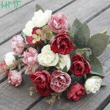 30m 21 adet yapay ipek gül çiçek/demet avrupa tarzı yüksek kaliteli buket sahte çiçekler düğün ev partisi dekorasyon