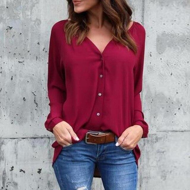 20bc84a782f 2018 Big Yard Tops Women V-neck Chiffon Blouses 3 4 Sleeve Female Shirt  Fashion Large Size Plus Size Feminina Camisas Blusa