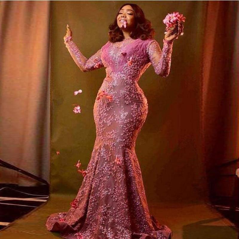 gala jurken Pink   Prom     Dresses   Plus Size abendkleider Mermaid Formal   Dress   Beading vestidos de gala Lace   Prom   Gowns Appliques