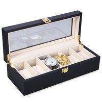 Reloj Relogios Madeira Caso Mostrador do Relógio Caixa De Relógio 6 Slots relógios Tampo de Vidro Caixa De Jóias Caixa de Relógio de Armazenamento Organizador Titular caixas