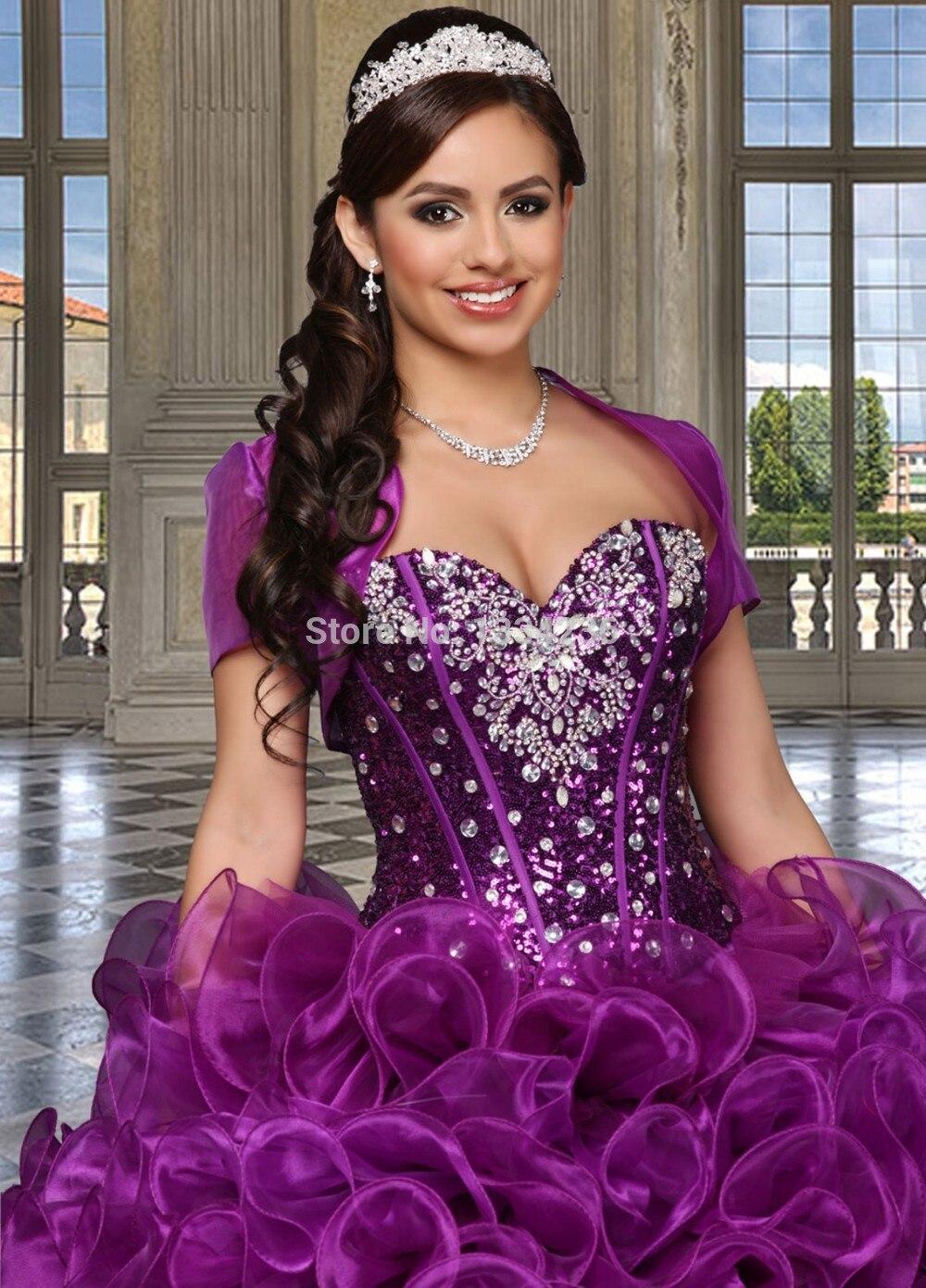 Venta caliente Púrpura Vestidos de Quinceañera 15 años Con Volantes ...