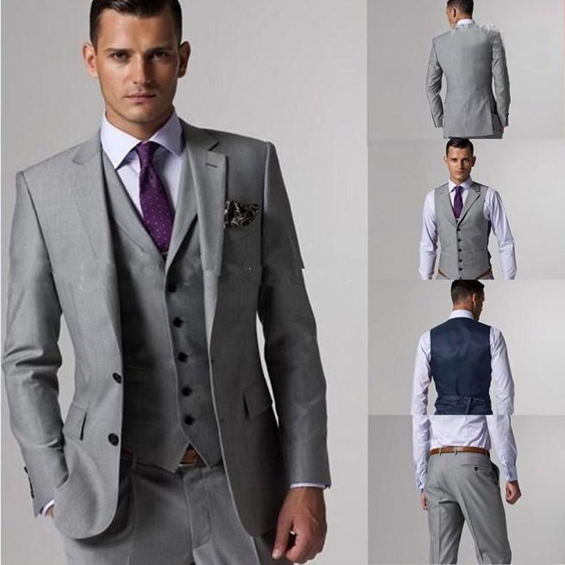 2018 100% High Quality Groom Tuxedos Side Slit Light Grey