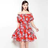 Hoge kwaliteit 2018 nieuwe designer damesmode zomer korte jurk Sexy slash bloem afdrukken elastische taille Slanke Zoete jurk