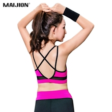 MAIJION Breathable Mesh Women Sports Bra,Spaghetti Strap Seamless Fitness Tops, Sexy Backless Running Yoga Bras Vest For Girls