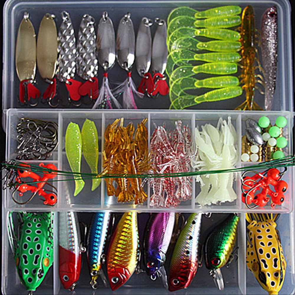 Fishing Lure Kit 98 Pcs/Pack Minnow Popper Crank Spinner Metal Lure Spoon Swivel Soft Bait Set Combo Tackle Accessory Box 5 pcs hot sale top mouse mice lure fishing soft bait fishing tackle box accessory tool metal spoon fishhook