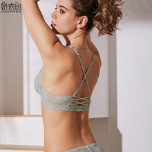 الفرنسية مثير الدانتيل رقيقة جدا Bralette الخلفي نوع X الأشرطة مريحة المرأة الملابس الداخلية مرونة مثلث كوب رفع الصدرية مجموعة