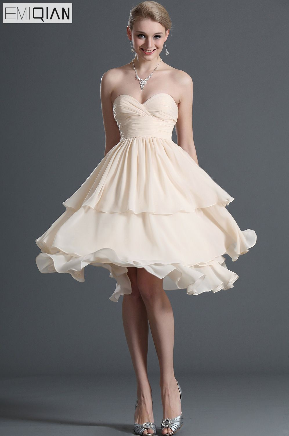 Free Shipping New Tiered Skirt Short Prom Dress Fabulous Strapless Sweetheart Chiffon Cocktail Party Dress