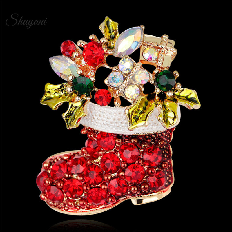 Christmas Party Clothing Accessories Rhinestone Red Santa Claus Shoe Boots Brooche Pins For Women Men Brooch Corsage Xmas Gift