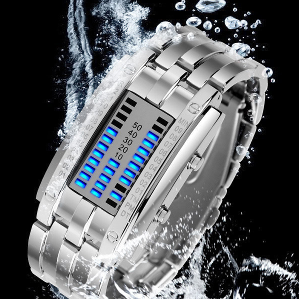 Luxury LED Electronic Blue Binary Watch Men Luminous Sports LED Watch Women Men Stainless Steel Digital Watch 17