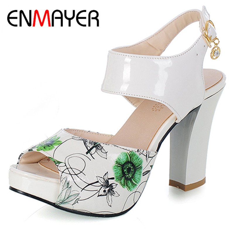 ENMAYER Summer Women Fashion Sandals Pumps Shoes Ankle Strap Buckle Strap Peep Toe Square Heel Platform Large Size 34-39 Black xiaying smile new summer woman sandals shoes women pumps platform fashion casual square heel buckle strap open toe women shoes