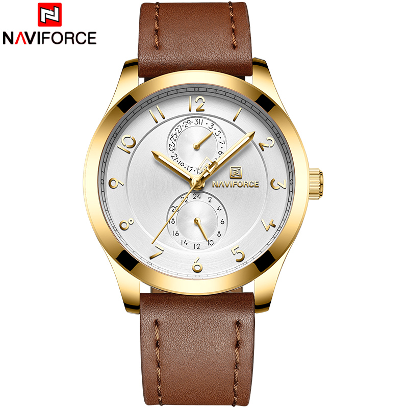 New Top Brand NAVIFORCE Men Fashion Quartz Watches Men Genuine Leather Watch Band Male Army Date Analog Clock Relogio Masculino break men watches luminous military army analog date day sport watch leather strap male clock quartz watch relogio masculino new