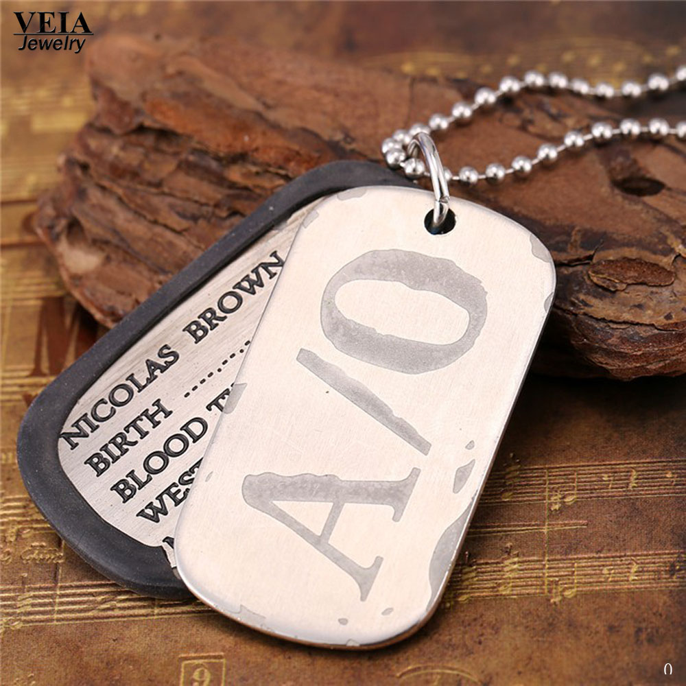 <font><b>Gangsta</b></font> A/0 Nicolas Brown Mercenary Dog Tag Necklace Pendant <font><b>Gangsta</b></font> Cosplay Titanium Steel Anime <font><b>Gangsta</b></font> Dog Tag Chain Necklace image