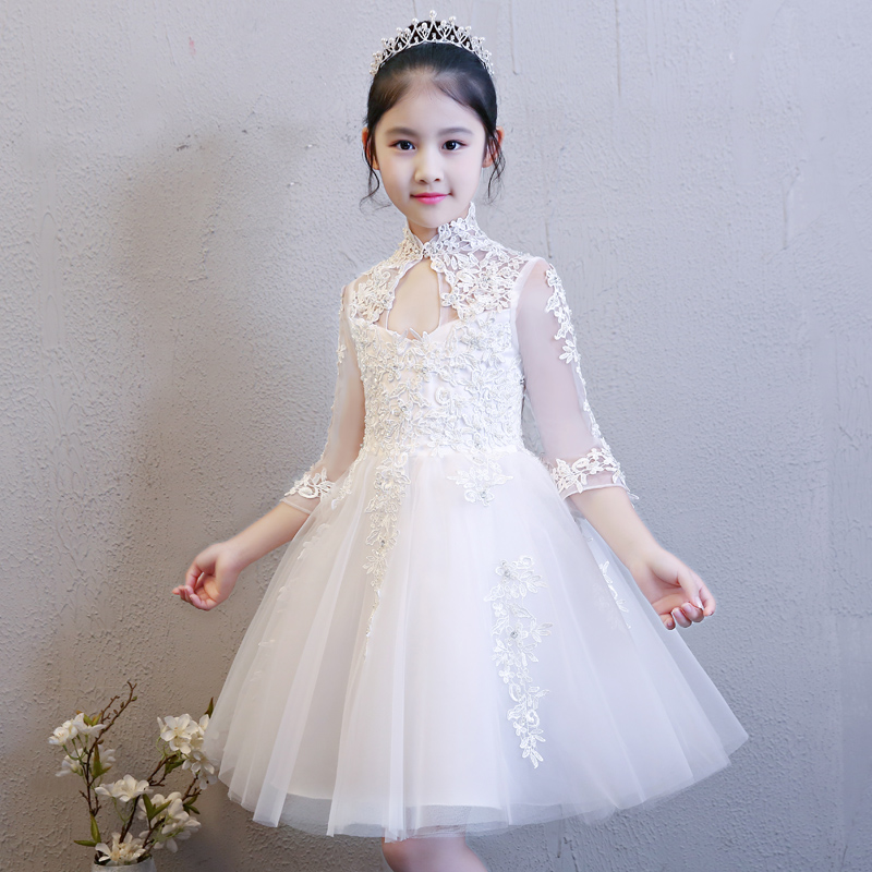 2018 New High Quality Children Girls Pure White Color Princess Lace Wedding Birthday Dress Kids Babies