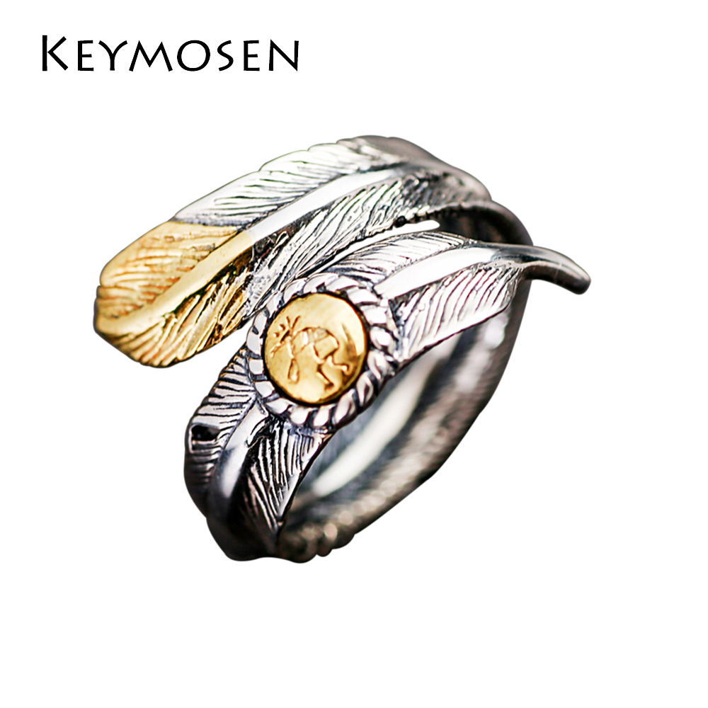 купить Personality Vintage Thai Silver Single Ring Men And Women Open Ring Feather S925 Silver Rings Couple Silver Ornaments по цене 4176.41 рублей