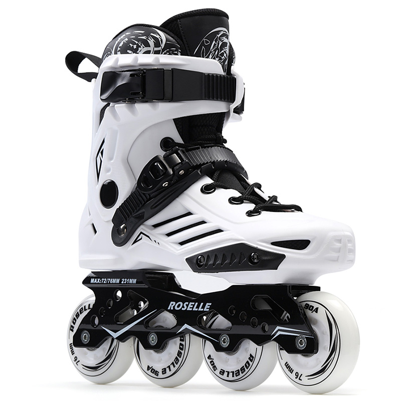 New Women Girls Inline Skate Shoes Professional Freestyle Skating Boots Outdoor Roller Skates Patins White/Black vik max factory outlet white figure skate shoes two size left ice skate shoes cheap figure skate shoes