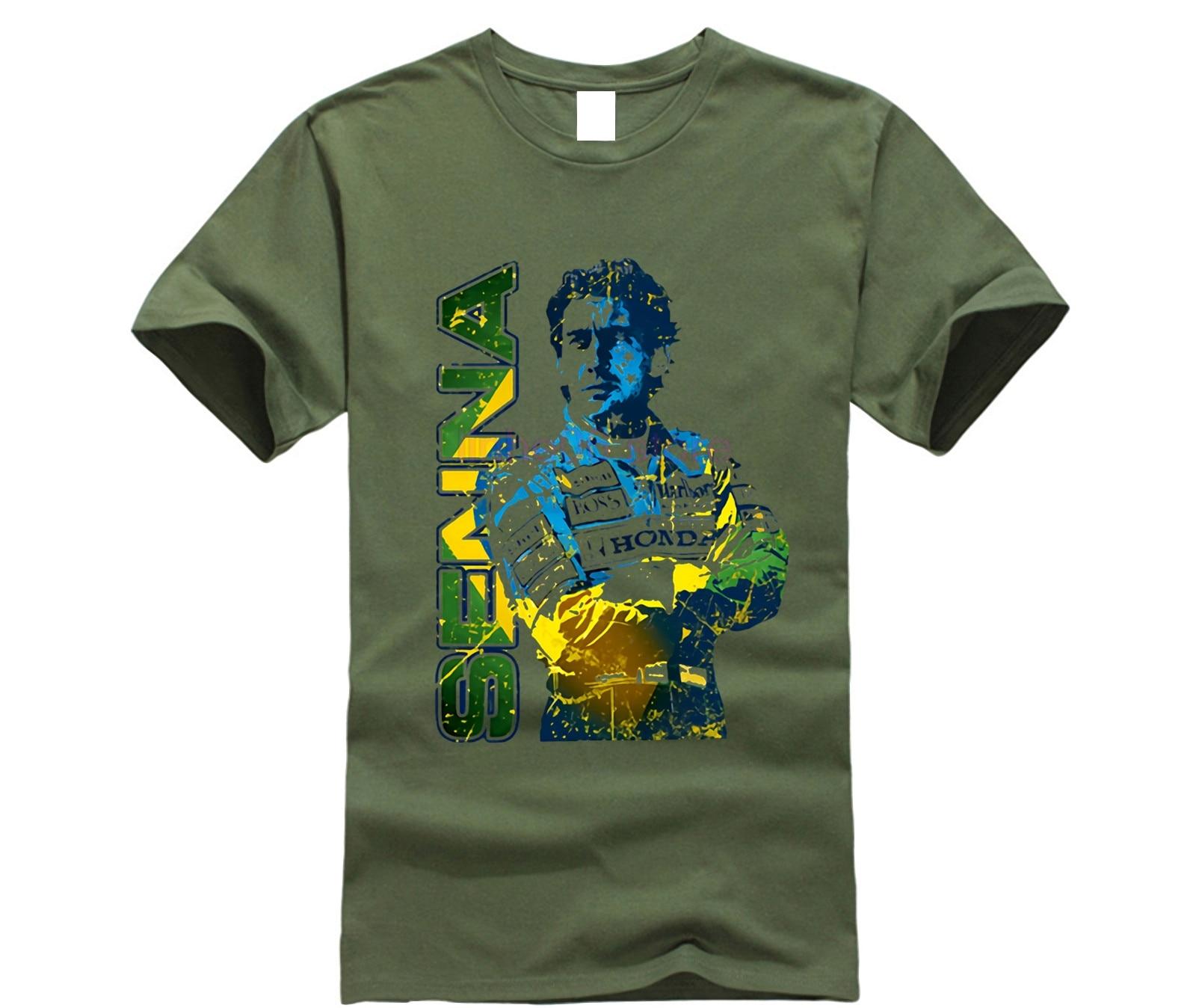 gildan-new-retro-unique-design-men's-t-shirt-car-fans-tops-cool-tees-my-favorite-driver-ayrton-font-b-senna-b-font