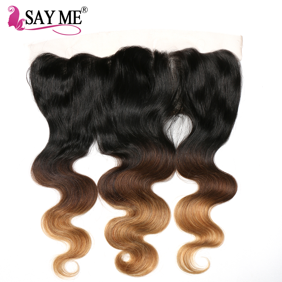 SAY ME Ombre Malaysian Body Wave Hair 13x4 Ear To Ear Pre Plucked Lace Frontal Closure  Remy 100% Human Hair 1B/4/27
