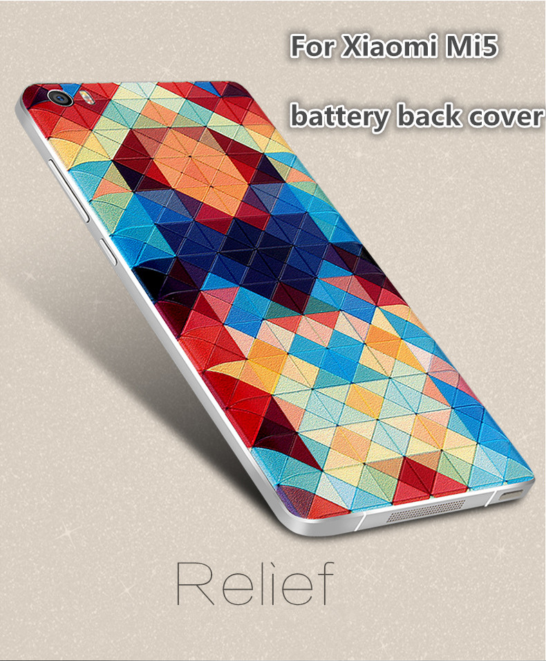 For Xiaomi Mi5 Case Relief Printed Back Cover M5 Mi5 Housing Battery Door Cover For Xiaomi Mi 5 Battery Back Cover Replace Part