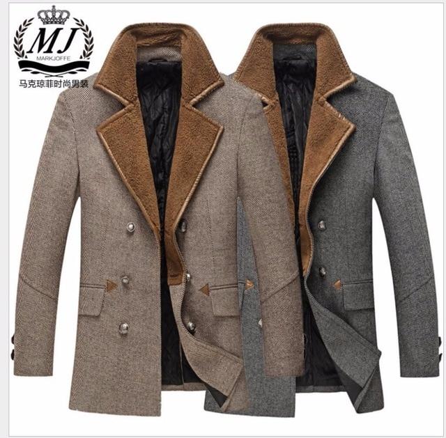 M-3XL de Los Hombres de Invierno Nuevo abrigo de lana casual de Negocios abrigo de lana largo collar de traje de lana ropa de Abrigo trench más tamaño