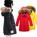 new winter girls down parkas white duck down jacket long girls fur hooded coats winter children outerwear for 6-12Years