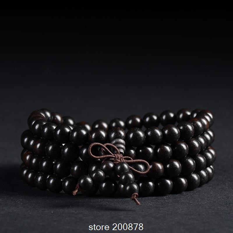 BRO504 Buddhist 216 Prayer Beads Malas Natural Ebony Rosary Bracelets 6mm Black Sandal Wood