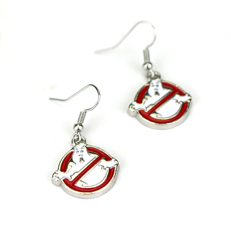Ghostbusters Earrings Silver Red White Enamel Halloween Ghost Pendant Ghostbusters Logo Drop Earrings Halloween Jewelry
