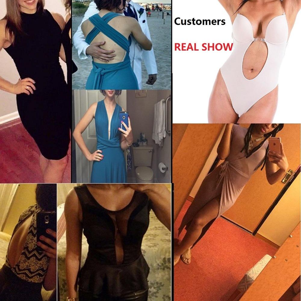 NINGMI Partie Robe Body Sous Vêtements Femmes Corps Shaper Glissades Dos Nu  Soutien Gorge G string Taille Formateur U Plunge Underdress Shapewear dans  ... 36553a5b8fc