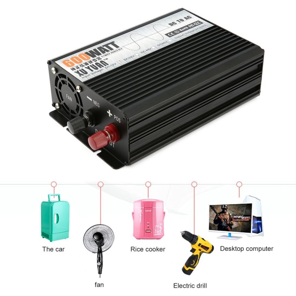 цена Pure Sine Wave 600W DC12V to AC220V Car Power Inverter Voltage Transformer Camping Travel Vehicles Converter with EU Plug