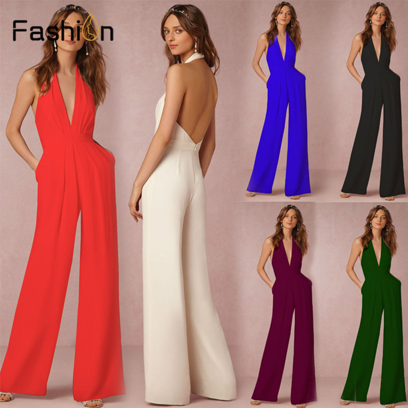 Women Wedding   Jumpsuit   Sexy Deep V Halter Sleeveless Halter Elegant   Jumpsuits   Casual Wide Leg Pants Ladies Coverall Harajuku