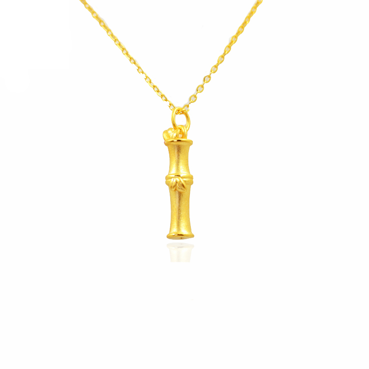 где купить New Solid 999 24K Yellow Gold Pendant Women Bamboo Pendant 1.19g дешево
