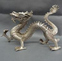 """12 """"chiński srebrny zodiaku mit bestia figurka bogactwo Fly smok statua z brązu w Posągi i rzeźby od Dom i ogród na"""